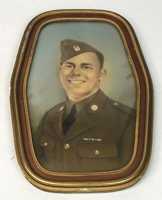 Vintage US Army Soldiers Framed Portrait