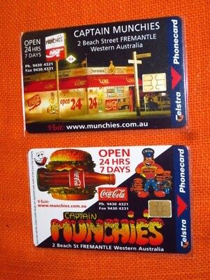2x NEW TELSTRA Phonecards, CAPTAIN MUNCHIES Fremantle Perth WA 1998, Limited Ed