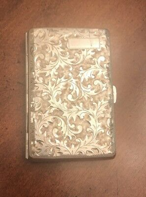 Asahi Shoten Japanese 950 Sterling Silver Cigarette case Hand Chased Etched