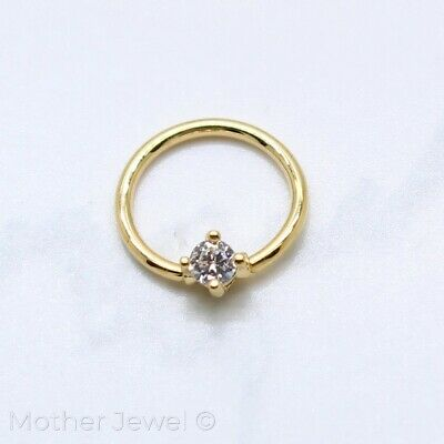 Details about  /SIMULATED DIAMOND SILVER 14K YELLOW GOLD IP LOOP NOSE PIERCING SEPTUM 14G RING