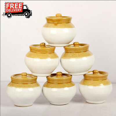Set Of 6 New Hand Carved Unique Pickle Sugar Kitchen Commodity Jar No 1/2, 8172