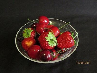 Mixed lot of Decorative Plastic Strawberries & Cherries in Crackle Glass Bowl