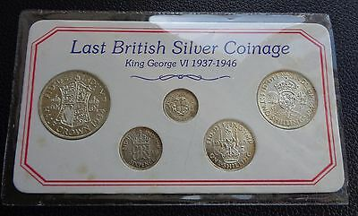 1937-1946 George VI Last British Silver Coin Set - Good Grade Coins with Lustre