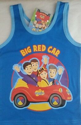 THE WIGGLES BIG RED CAR Boy Licensed singlet tank top vest stretch NEW sz 1-4