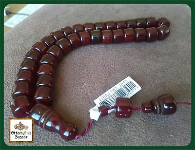 Dark Cherry Colour Ottoman Prayer Beads Komboloi Faturan Kahraman Tasbih Misbaha