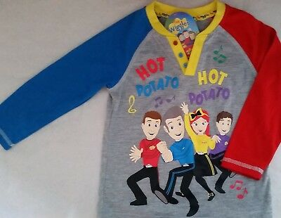 THE WIGGLES HOT POTATO Licensed henley long sleeve tee t shirt top NEW size 1-5
