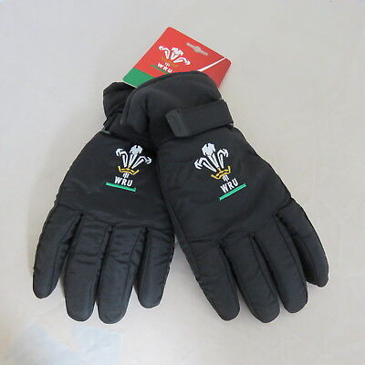 Brand New Men's Wales Rugby Union WRU Supporter Ski Gloves Black