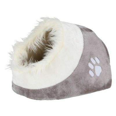 Grey Cat Cave Den Bed Cuddly Kittens Hideaway Napper Plush Reversible Cushion