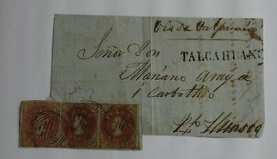 CHILI 1855 - COLOMB - Yv 4 - 5 c ROUGE BRUN / AZURE - BANDE DE 3 - TALCAHUANO