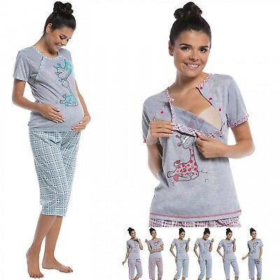 Zeta Ville - Women's maternity crop pants pyjamas nursing short sleeves - 173c