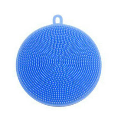 Blue Silicon Double-Side Cleaning Dish Washing Scouring Pad Sponge Scrubber