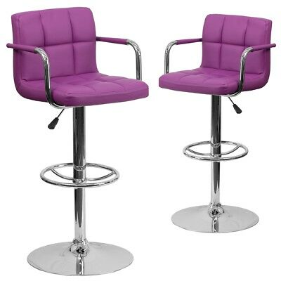 2 Pk. Contemporary Purple Quilted Vinyl Adjustable Height Barstool with Arms...