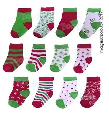 Baby Girls & Baby Boys 12 Days of Christmas Multipack Socks 12 Pairs 0-6 Months