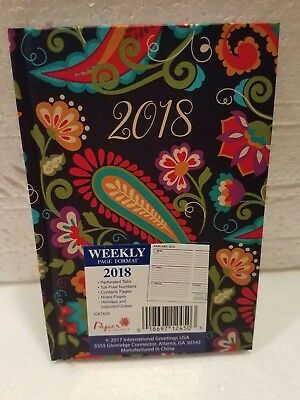 2018 Weekly Planner, Small Hardback Book Style, Colorful Paisley