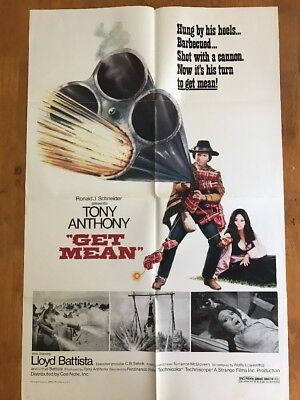 Get Mean 1SH Original Movie Poster Tony Anthony 41x27 1975 Western