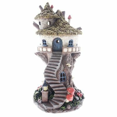 Round Fairy Tree House with Thatched Roof - Solar Powered Garden Ornament Decor