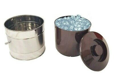 Round Ice Bucket Stainless Steel with Brown Insert Bucket and Lid 6 Pint Plastic