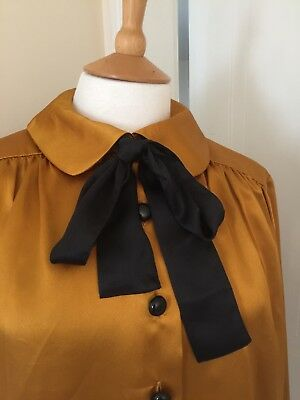 YVES SAINT LAURENT Golden Amber Size 42 Peter Pan Black Buttons Black Pussybow