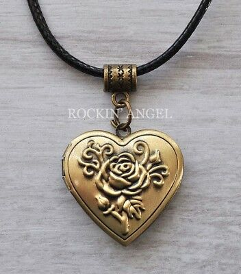 Bronze Rose on a Heart Locket, Pendant Necklace, photo frame gift ladies Love