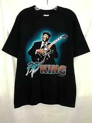 B.B. King Of The Blues  Tour Cities 2001  Black Adult Large Graphic Tee  T-Shirt