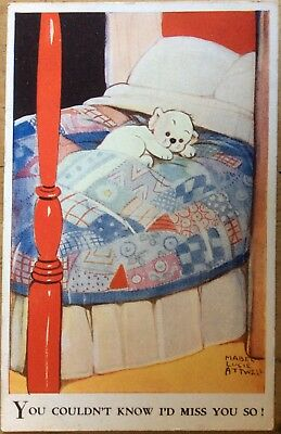 Vintage Mabel Lucie Attwell Pc Puppy In Four Poster Bed Lying On Patchwork Quilt