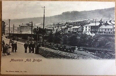 Antique Pc View Of Mountain Ash Bridge Rhondda Cynon Aberdare Coal Wagons Shops