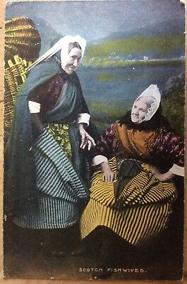 Antique Pc View Of Very Elderly Scotch Fishwives In Traditional Clothing & Lace
