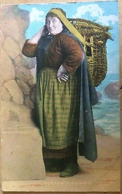 Antique Pc View Of Scotch Fishwife Carrying Woven Fish Basket National Series