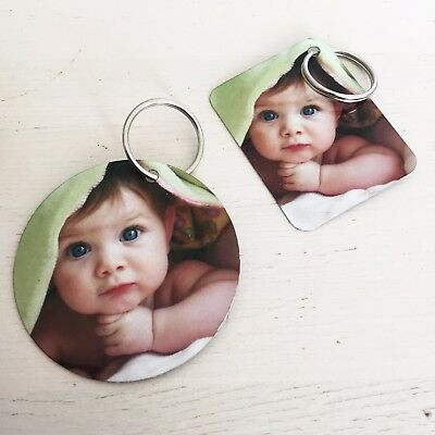 Personalised Photo Metal Keyring, Customised Gift, Any Image Promo Logo Text etc