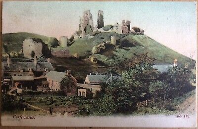 Antique Pc View Of Corfe Village And Corfe Castle Ruins Behind J.welch & Sons 05
