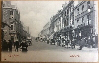 Antique Pc View Along The High Street Bedford Bedfordshire Hartmanns 1041