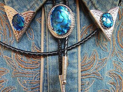 NEW RED ABALONE BOLO BOOTLACE TIE /& COLLAR TIPS SILVER METAL LEATHER CORD