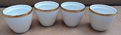 THOMAS GERMANY WHITE/GOLD WIDE GOLD BAND 4 x EGG CUPS