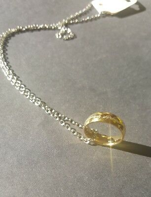 lord of the rings the one ring necklace size 17 gold