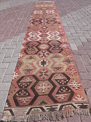 "Vintage Turkish Rug Runner Antalya Nomad KilimRunner 27,5""X154,3"" Carpet Runner"