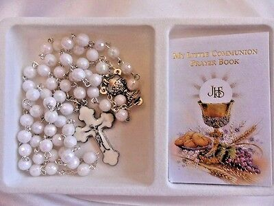 First Holy Communion Rosary beads with 22 page mini prayer book. Pure White.