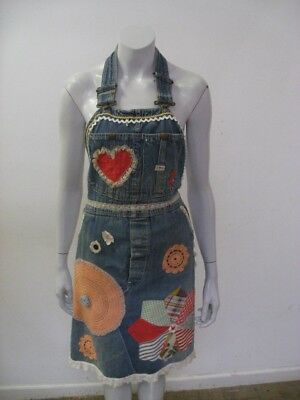Vintage 1960s 70s LEE Indigo Denim Overall APRON Applique