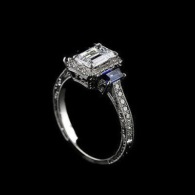 Hand Engraved Diamond Trapezoid Sapphire Vintage Style 14k White Gold Engagement