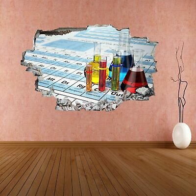 Chemistry Laboratory Test Tubes Periodic Table Wall Sticker Mural Decal CK23