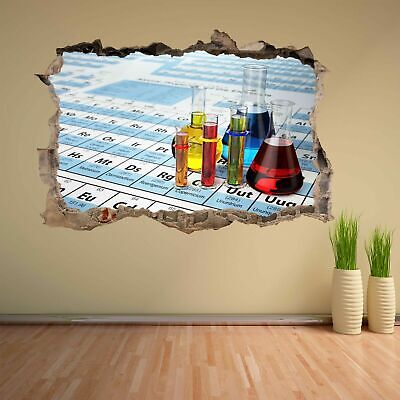 Chemistry Laboratory Test Tubes Periodic Table Wall Sticker Mural Decal CK24