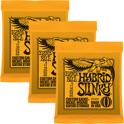 3 Packs / Sets Ernie Ball 2222 Hybrid Slinky Electric Guitar Strings (9-46)