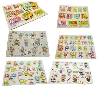 Kid//Toddler Peg Jigsaw Puzzle Baby Developmental Wooden Game Toy Xmas Funny Gift