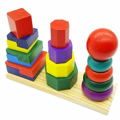 Kids Educational Toys Tower Up Play Stack Rainbow Toy Baby Ring Stacking Wooden