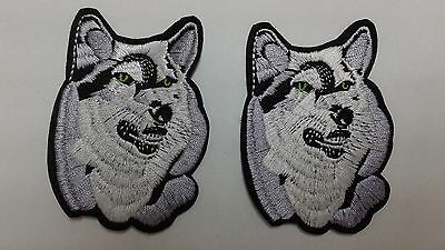"""2 pc Free US shpg Wolf head emb patch 3.5x2.5"""" sew/iron-on"""
