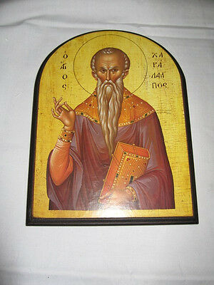 Saint Haralabos Handmade Greek Christian Russian Orthodox Byzantine icon
