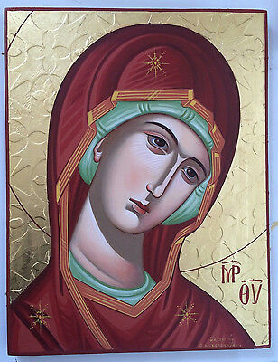 Byzantine icon of Panagia-Mother of God - handpainted Greek Christian Orthodox