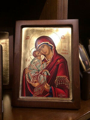 Our Lady Theotokos-Sweet Kisser- handmade Woodcut Greek orthodox  byzantine icon