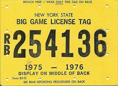 Vintage Hunting Big Game Tag License New York State 1975-1976