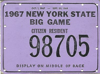 Vintage Hunting Big Game Tag License New York State 1967