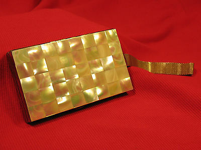 Vintage Minaudiere Vanity Case Purse Compact Mother of Pearl MOP Checkerboard